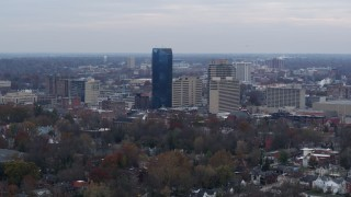 DX0001_003212 - 5.7K stock footage aerial video a stationary view of the city's skyline, Downtown Lexington, Kentucky