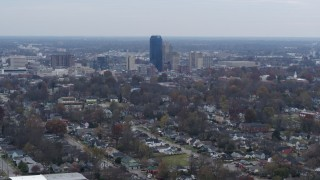 DX0001_003227 - 5.7K stock footage aerial video stationary view of city skyline from neighborhoods, Downtown Lexington, Kentucky