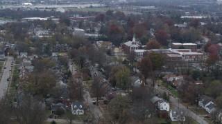 DX0001_003235 - 5.7K stock footage aerial video church steeple and suburban neighborhood in Lexington, Kentucky