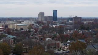 DX0001_003239 - 5.7K stock footage aerial video ascend while focused on the city's skyline in Downtown Lexington, Kentucky