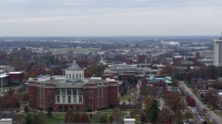 DX0001_003241 - 5.7K stock footage aerial video of a library at the University of Kentucky, Lexington, Kentucky