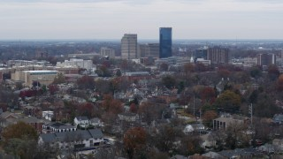DX0001_003242 - 5.7K stock footage aerial video of skyscrapers in the city skyline of Downtown Lexington, Kentucky