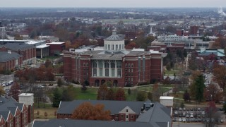 DX0001_003249 - 5.7K stock footage aerial video flyby and approach a University of Kentucky library, Lexington, Kentucky