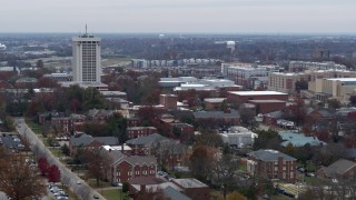DX0001_003252 - 5.7K stock footage aerial video passing by the University of Kentucky campus, Lexington, Kentucky