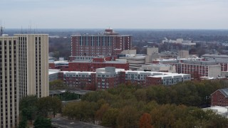 DX0001_003253 - 5.7K stock footage aerial video reverse view of dorms at the University of Kentucky campus, Lexington, Kentucky