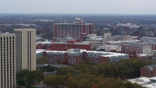 DX0001_003255 - 5.7K stock footage aerial video of flying by dorms and campus buildings at the University of Kentucky, Lexington, Kentucky