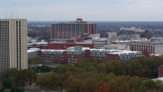 DX0001_003257 - 5.7K stock footage aerial video descending by dorms and campus buildings at the University of Kentucky, Lexington, Kentucky