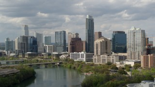 DX0002_103_005 - 5.7K stock footage aerial video a view of skyscrapers in Downtown Austin, Texas while ascending over Lady Bird Lake