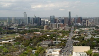 DX0002_103_020 - 5.7K stock footage aerial video of a wide view of the city's skyline from Congress Avenue in Downtown Austin, Texas