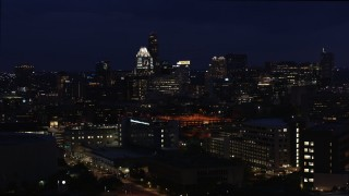 DX0002_106_005 - 5.7K stock footage aerial video of office buildings, skyscrapers while descending at night in Downtown Austin, Texas