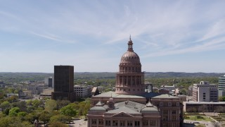 DX0002_107_026 - 5.7K stock footage aerial video of orbiting around the dome of Texas State Capitol, Downtown Austin, Texas