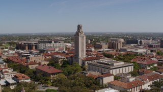 DX0002_107_032 - 5.7K stock footage aerial video of orbiting UT Tower at the University of Texas, Austin, Texas