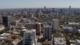 DX0002_107_038 - 5.7K stock footage aerial video of approaching the city's skyline from the University of Texas campus, Downtown Austin, Texas