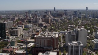 DX0002_107_039 - 5.7K stock footage aerial video of a wide view of the city's skyline seen from the University of Texas, Downtown Austin, Texas