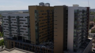 DX0002_107_048 - 5.7K stock footage aerial video of orbiting an apartment building in Austin, Texas