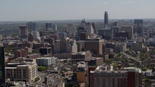 DX0002_108_007 - 5.7K stock footage aerial video of flying by capitol, office buildings and city skyline in Downtown Austin, Texas
