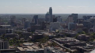 DX0002_108_017 - 5.7K stock footage aerial video of a view of the city's skyline in Downtown Austin, Texas