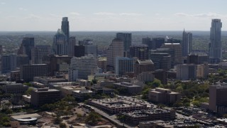DX0002_108_018 - 5.7K stock footage aerial video of a slow approach to the city's skyline in Downtown Austin, Texas