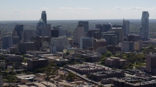 DX0002_108_019 - 5.7K stock footage aerial video of flying away from the city's skyline in Downtown Austin, Texas