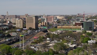 DX0002_108_038 - 5.7K stock footage aerial video of a view of heavy commuter traffic on a freeway in Austin, Texas