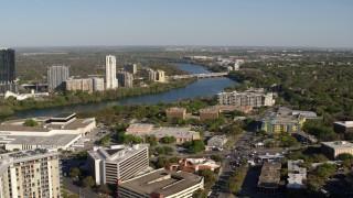 DX0002_109_008 - 5.7K stock footage aerial video a freeway bridge spanning Lady Bird Lake, Austin, Texas