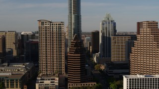 DX0002_109_032 - 5.7K stock footage aerial video of downtown skyscrapers seen during descent in Downtown Austin, Texas