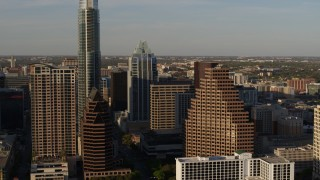 DX0002_109_036 - 5.7K stock footage aerial video approaching downtown skyscrapers in Downtown Austin, Texas