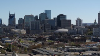 DX0002_112_036 - 5.7K stock footage aerial video of descending near the city's skyline, Downtown Nashville, Tennessee