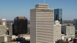 DX0002_113_040 - 5.7K stock footage aerial video of orbiting Tennessee Tower in Downtown Nashville, Tennessee