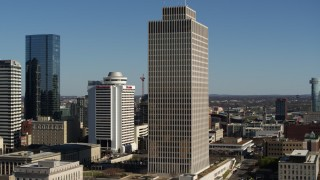 DX0002_113_042 - 5.7K stock footage aerial video of descending by Tennessee Tower in Downtown Nashville, Tennessee