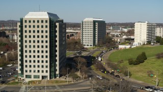 DX0002_113_046 - 5.7K stock footage aerial video orbit a government office building in Downtown Nashville, Tennessee