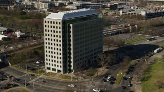 DX0002_113_047 - 5.7K stock footage aerial video of Andrew Johnson Tower, a government office building in Downtown Nashville, Tennessee