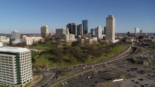DX0002_114_007 - 5.7K stock footage aerial video of the Tennessee State Capitol, skyscrapers, Tennessee Tower in Downtown Nashville, Tennessee