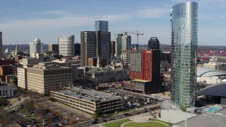 DX0002_118_016 - 5.7K stock footage aerial video reverse view of Renaissance Hotel, reveal JW Marriott in Downtown Nashville, Tennessee