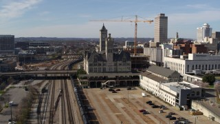 DX0002_118_018 - 5.7K stock footage aerial video orbit and approach Union Station Hotel in Downtown Nashville, Tennessee