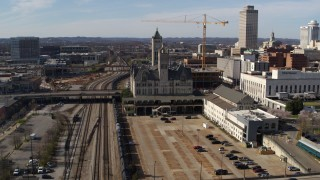 DX0002_118_019 - 5.7K stock footage aerial video of a reverse view of Union Station Hotel in Downtown Nashville, Tennessee