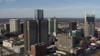 DX0002_119_003 - 5.7K stock footage aerial video approach and orbit Renaissance Hotel in Downtown Nashville, Tennessee