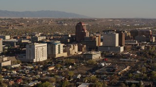 DX0002_122_018 - 5.7K stock footage aerial video of a view of the city's office high-rises, Downtown Albuquerque, New Mexico