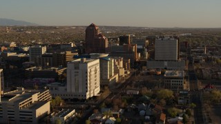 DX0002_122_027 - 5.7K stock footage aerial video of high-rise office buildings seen from courthouse in Downtown Albuquerque, New Mexico
