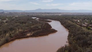 DX0002_124_011 - 5.7K stock footage aerial video of the Rio Grande river in Albuquerque, New Mexico