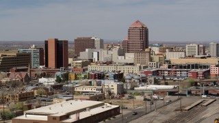 DX0002_124_026 - 5.7K stock footage aerial video flyby Albuquerque Plaza surrounding buildings, Downtown Albuquerque, New Mexico