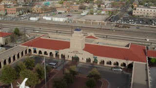 DX0002_127_016 - 5.7K stock footage aerial video of the Albuquerque train station, Downtown Albuquerque, New Mexico