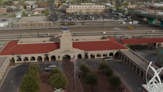 DX0002_127_017 - 5.7K stock footage aerial video of orbiting the Albuquerque train station, Downtown Albuquerque, New Mexico