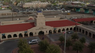 DX0002_127_019 - 5.7K stock footage aerial video of an orbit of the Albuquerque train station, Downtown Albuquerque, New Mexico