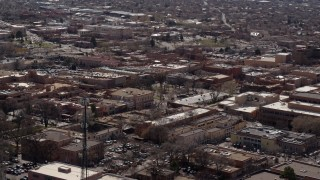 DX0002_129_029 - 5.7K stock footage aerial video orbiting the city's downtown area, Santa Fe, New Mexico