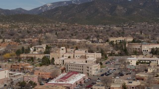 DX0002_129_039 - 5.7K stock footage aerial video of orbiting Bataan Memorial Building near capitol building, Santa Fe, New Mexico