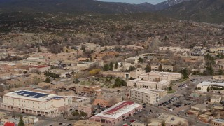 DX0002_130_004 - 5.7K stock footage aerial video flyby downtown and Bataan Memorial Building near capitol, Santa Fe, New Mexico