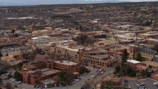DX0002_130_025 - 5.7K stock footage aerial video of flying by two hotels in Santa Fe, New Mexico