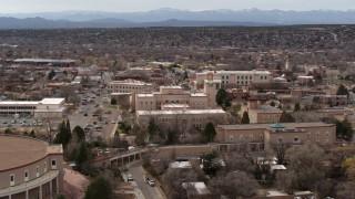 DX0002_130_039 - 5.7K stock footage aerial video an orbit around the Bataan Memorial Building near capitol building, Santa Fe, New Mexico