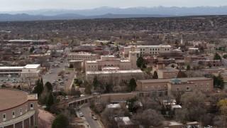 DX0002_130_040 - 5.7K stock footage aerial video of orbiting the Bataan Memorial Building in Santa Fe, New Mexico